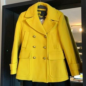 J Crew Majesty Pea Coat Golden Sun Size 2